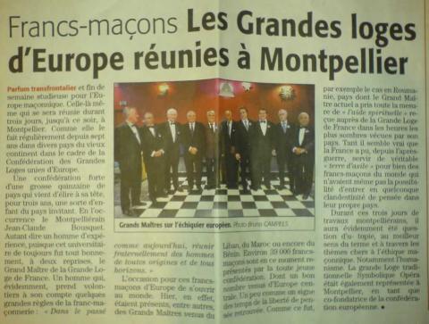Les Grandes Loges Unies d'Europe réunie à Montpellier